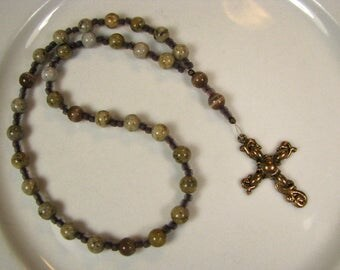 Anglican Prayer Beads-Rosary-Feldspar-cat eye