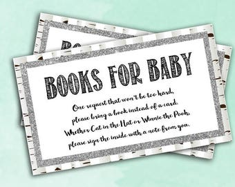 Woodland Books Baby Shower Cards - Baby Shower Game - Digital Instant Download - Whitewash Glitter Forest Bring a Book for Baby Cards Raffle