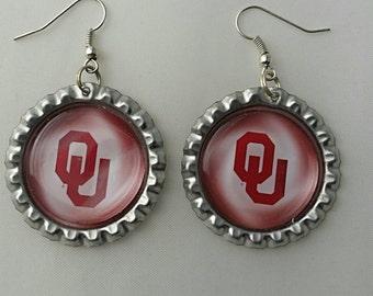 New OU Flat Chrome Bottlecap Earrings