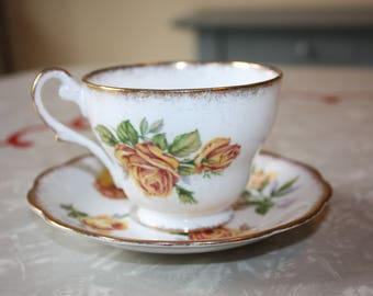 Romany Yellow Rose Tea Cup and Saucer, Vintage Royal Standard, English Bone China, 2-Piece Set