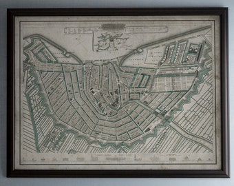 Amsterdam Map: Vintage Map of Amsterdam, Netherlands -  Circa 19th C. - Weathered Map