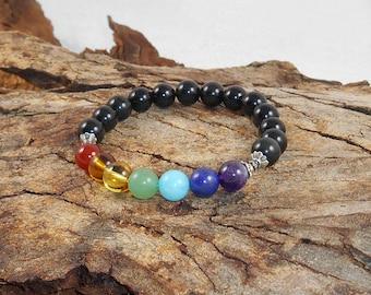 Ground Chakra Bracelet, Obsidian Bracelet, Black Bracelet, Yoga Bracelet Energy Stone Healing Jewelry, 7 Chakra Bracelet
