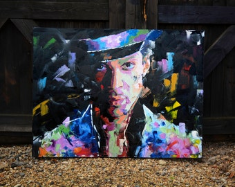 """Prince (Musician) Original Oil Painting, 40"""", Portrait, Pallette Knife, Large, Wall, Art, Canvas, Worldwide Shipping"""