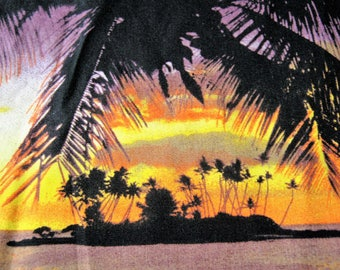 Tropical Sunset Fabric*Island Sunset Fabric*Palm Trees*Ocean Fabric*Mango*Yellow*Purple*Black*Trendtex Fabrics*100% Cotton*1/2 Yard*Quilting