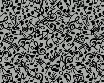 Windham Three Quarter Time Music Notes Fabric - Gray - Sold by the 1/2 Yard