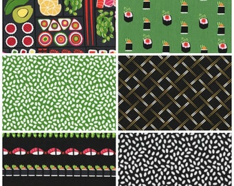 Sushi Fabric Fat Quarter Bundle - 6 prints