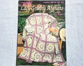 Vintage Lacy Granny Afghans Leisure Arts Leaflet 2845 Six Designs by Anne Halliday