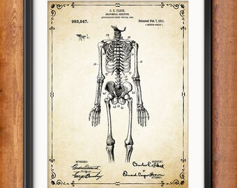 Human Skeleton Antique Anatomy Wall Art Poster - Human Skeleton Poster - Medical Student Gift Idea - Antique Anatomy Home Decor - 1303