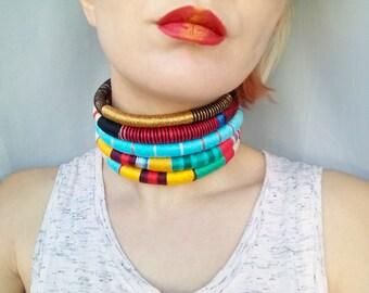 Queen, Choker, Tribal Necklace, Statement Necklace, African Choker, African Necklace, Aztec Necklace, Tribal Necklace, African Jewelry