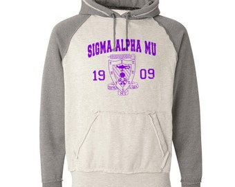 Sigma Alpha Mu Vintage Heather Hooded Sweatshirt - Purple Print (unless noted otherwise)