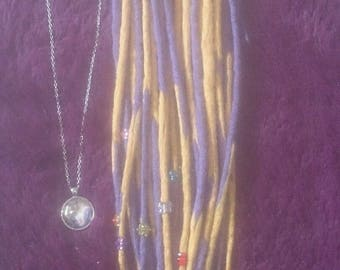 Purple-yellow-tip-medium-double-ended-dreads-16-butterfly-flower-beads-necklace