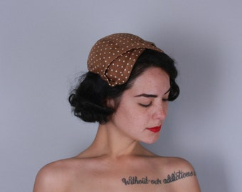 Vintage 1950s Hat | Light Brown and White Polka Dot Silk Cap with Bow Front