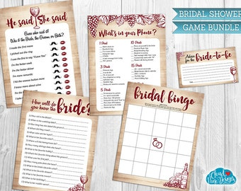 Bridal Shower Game Bundle Burgundy, Maroon, Wine Tasting Bridal Shower-Printable games-Wine Themed Wedding Shower-Game pack-Instant Download