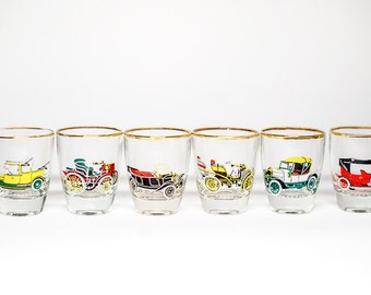 Vintage Shot Glasses Cars - Six Glasses Boxed Gift