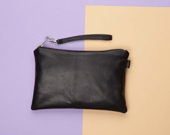 Black Leather Clutch Purse // Black Leather Bag // Clutch Purse // Small Leather Clutch // Leather Travel Pouch