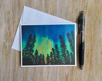 Northern Lights Card - Aurora Borealis Card - Blank Card with Envelope - Original Art Card - Nature Card - Handmade Card - Mini Art Card