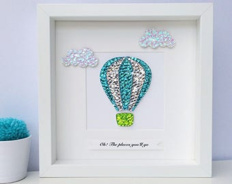 Hot air balloon picture, nursery wall art, Dr seuss, oh the places you'll go, nursery decor, Dr Seuss quote, new baby boy gift