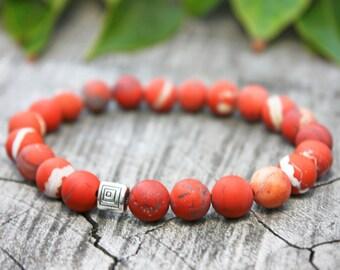 Red Jasper Bracelet, Matte Bead Bracelet, Mens Red Bead Bracelet, Womens Red Bead Bracelet, Root Chakra Jewelry, Mothers Day Jasper