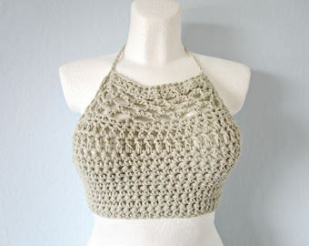 Crochet top Ivory sexy top Hippie top Crochet boho top Beach off white top under 30 Girls bikini top Knitted top Pool top Party tops Lace