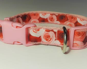 Adjustable Roses Dog Collar - Pink