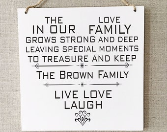 Family Personalised Gift Live Love Laugh Plaque Home W277