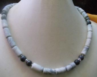 Magnesite with Labradorid beads statement jewelry Neclaces