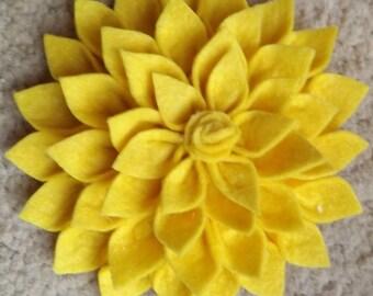 Brooch - Yellow Felt fabric Flower