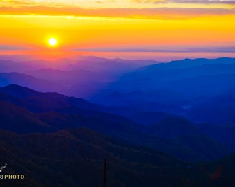 Nature Photos, Zen Wall Art, Mountain Sunset, Blue Ridge Parkway, Blue Ridge Mountains, Appalachian Mountains, Waterrock Knob, Wall Decor