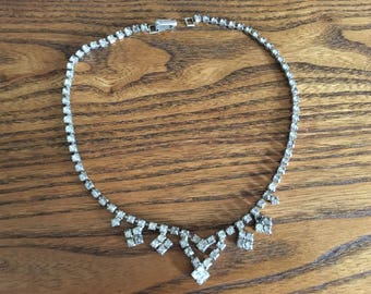 Vintage Clear Crystal Rhinestone Choker Necklace 1173