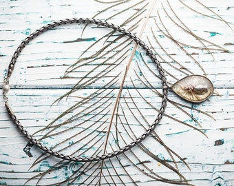 Resin Tin Soldered Jewelry, Tiffany Technique Daisy Pendant, Real Dried Livingstone Daisy Flower, Fish Art Pendant, Herbarium Nature Pendant