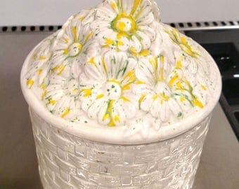 Vintage Yellow Daisy Cookie Jar - By Cookie Lee