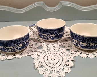 Qty. 3 Royal China Willow Ware Blue and White Tea Cups