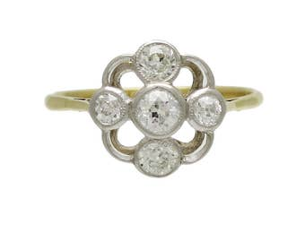 Edwardian Platinum over 18K Gold and Diamond Ring