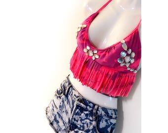 Reworked Upcycled Distressed  Embellished Bikini Top