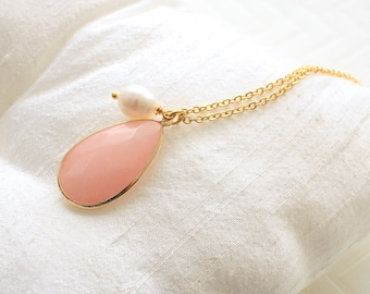 Long Necklace, Blush Peach Stone Necklace, Bridesmaid Necklace, Wedding Gift, Bridesmaid Gift