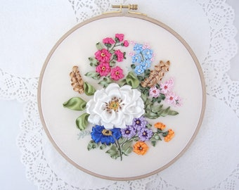Ribbon Embroidery Hoop, Wall Hanging Hand Embroidery, Flower Composition, Fiber Art, Ribbon Work, Floral Home Accessories, Ribbon Flower Art