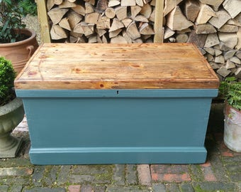 NOW SOLD ****** Vintage Chest, Rustic Pine Blanket Box, Storage Trunk or Coffee Table