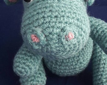 Amigurumi hippo - handmade crochet hippo - with safety eyes - decorative animal - toy hippo holiday gift children , teens , adults