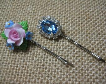 Hair Pins, Baby Blue, Lt Blue, Rhinestones, Vintage Porcelain, Porcelain Flower, Formal, Glam, Wedding, Bridesmaids {hp112}