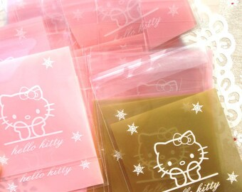 pink golden hello kitty plastic packaging bags gift food wrapping self adhesive package wedding favor bag