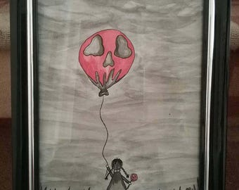 Ink, watercolor, gothic girl, skull, balloon, dark sky, gothic, wall art,  gothic art, girl, goth, skull balloon, Little girl, lollipop