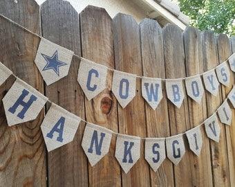 Cowboys Burlap Banner