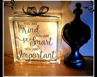 Kindness Block, Night light, Glass, block, Affirmation block, encouragement, 8 x 8, support