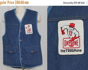 On Sale Vintage 70s 80s DRYDENE Oil Patch Denim Jean Sherpa Novelty RETRO Trucker Vest L