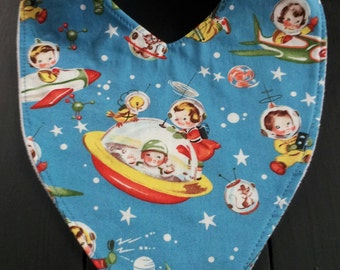 Dribble bibs,boys bibs, drool bibs, bandana bibs, toddler bibs retro spaceships rockets approx 4 months to 3 years