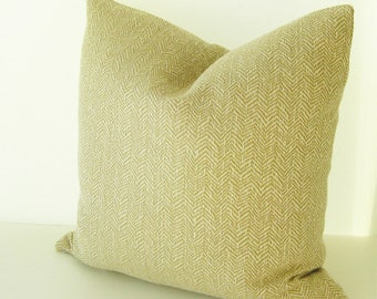 "Beige Neutral Herringbone Accent Pillow - 20"" x 20"" with or without insert - Ready to Ship"