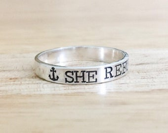 She Refused To Sink Ring - Sterling Silver Ring - Anchor Ring - Nautical Jewelry - Silver Hand Stamped Ring - Inspirational Ring - Divorce