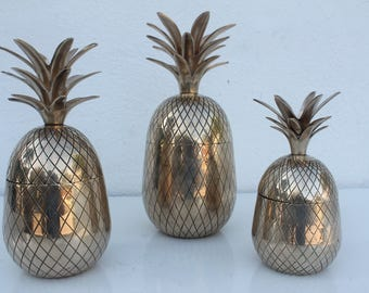 Vintage Hollywood Regency Solid Brass Pineapples Containers Set Of - 3 .