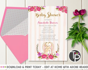 BUNNY BABY SHOWER, Rabbit Baby Shower Invitations, Instant Download, Watercolor Bunny Invitation, Bunny and Flowers invitation, Baby Girl