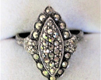 Marvellous Art Deco Solid Silver Marcasite Ring